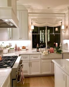 Love this white with pink kitchen!