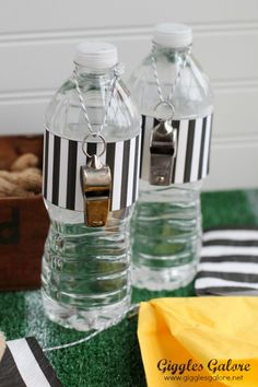 OMG! SO Awesome! referee water bottles ~ Super bowl Party Ideas~ Football ~