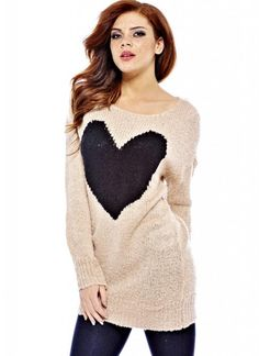 Pink Long Knit Sweater with Big Heart Front at www.ustrendy.com #pink #knit #sweater #heart #fall