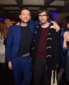 land premiere in London : Damon and Graham with the man who used to be their music teacher at school, Nigel Hildreth (via Getty Images, credit : David M. Blur Band, Graham Coxon, Going Blind, All Bran, Damon Albarn, Jamie Hewlett, Ginger Men, Britpop, Rockn Roll