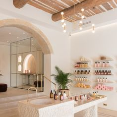 We Are Completely In Love with This Chic Village in the South of France BASTIDE new Flagship - The long beloved Aix-en-Provence beauty brand has received a chic update since von Wulffen and Fekkai purchased it two years ago, and now boasts a new home. Hair Salon Interior, Salon Interior Design, Nail Salon Design, Boutique Interior, Modegeschäft Design, Design Ideas, Deco Spa, Beauty Salon Decor, Beauty Salon Names