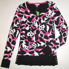 LILLY PULITZER Small PANDA Bear Black Pink Notched V Neck Sample Sweater NWT S #LillyPulitzer #VNeck