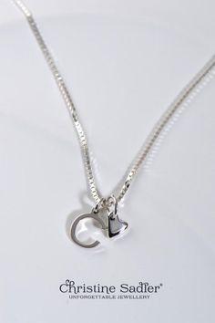 14k Gold Blue Sapphire September Birthstone Cursive Letter E Dog-tag Necklace