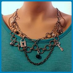 Chained Key & Lock Charm and Bead Necklace - Wedding nacklaces (*Amazon Partner-Link)
