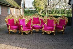 Antique Italian Rococo 5 Piece Throne Chairs Bergere Sofa Settee Couch Pink Velvet in Gold Leaf Gild Refinished Fauteuil Louis XVI Baroque