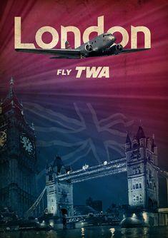 Fantastic Glossy Print - 'TWA - London' - Taken From A Rare Vintage Travel Poster (Vintage Travel / Transport Posters) Vintage Travel Posters, Vintage Ads, Vintage Airline, Poster Vintage, Travel Ads, Air Travel, London Poster, Destinations, Poster Ads