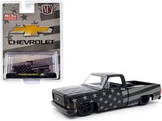 1973 Chevrolet Custom Deluxe 10 Square Body Pickup Truck Black and Gray Limited Edition to 4400 pieces Worldwide 1/64 Diecast Model Car by M2 Machines Square Body, Rubber Tires, Diecast Model Cars, Black And Grey, Gray, Pickup Trucks, Pick Up, Chevrolet, Grey
