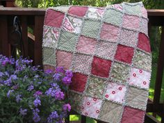 Shabby Chic Rag Quilt Flannel Pink and Green.