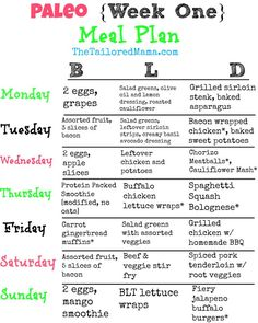Paleo Meal Plan for week one! This is a great menu plan for anyone starting Paleo or even just looking to change things up a bit! #paleo #healthyeating