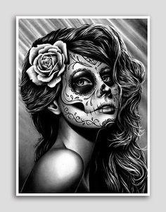 18 x 24 in Art Print - dualiteit - mooie zwart-wit-dag van de dode suiker Skull Girl Poster