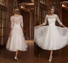 2016 High Quality Vintage Crew 3/4 Long Sleeve Lace Cover Back Tea Length White Tulle Lace Beaded Short Wedding Dresses Design Your Own Wedding Dress Designer Dresses Online From Hot_sales_dress, $104.03  Dhgate.Com