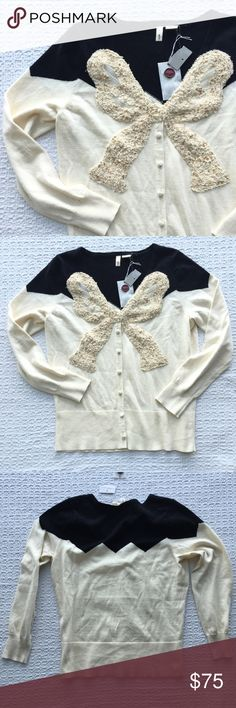 Moth Embellished Bow Cardigan Button Down Sweater In excellent condition! New with tags.   { FYI, I'm trying to clear some space in my closet, so I'm not interested in trading :) Thanks! } Anthropologie Sweaters Cardigans