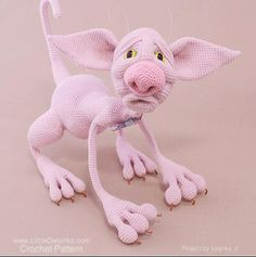 Pink kitty. Project by Ksanka_z. She used our Hairless Cat crochet pattern. http://www.ravelry.com/patterns/library/006-hairless-cat-fillimon-amigurumi-toy-ravelry