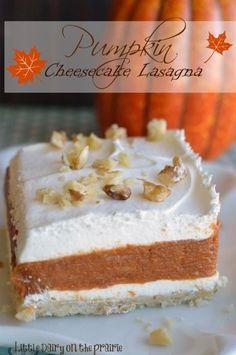 Pumpkin Cheesecake Lasagna is an impressive dessert that combines spicy pumpkin pie and creamy cheesecake into one delicious bite! | Little Dairy on the Prairie