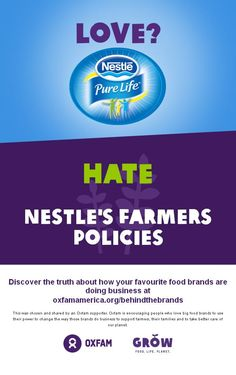Love? Nestle Pure Life, hate @nestle's farmers policies