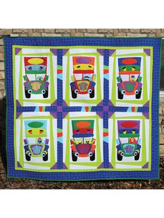Monster Truckers Quilt Pattern ~ experienced ~ applique technique to construct 6 different Monster Truckers ~ great to use up scraps ~ finished size x ~ QUILTING Applique Quilt Patterns, Sewing Patterns, Baby Quilts, Children's Quilts, Cute Monsters, Sewing Accessories, Quilting Designs, Craft Stores, Quilt Blocks