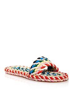 32bbc1851ea Loeffler Randall Women s Elle Woven Rainbow Slide Sandals