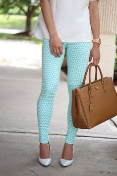 J. Crew light blue patterned skinny pants. #JCrew
