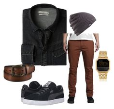 """Untitled #6"" by bananasfoster-1 on Polyvore featuring MANGO MAN, KR3W, Puma, Burton, Uniqlo, Nixon, men's fashion and menswear"