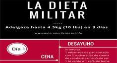 La dieta militar de 3 días es un plan para adelgazar rápidamente que combina el consumo de alimentos bajos en grasa y proteínas. Aqui esta el menú.