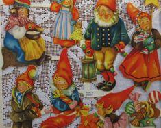 Vintage Sweden Jumbo Lithographed Die Cut 1950s Christmas Elves Children Paper Scraps