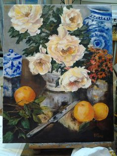 """This 16x20"""" oil still life is the latest from Girard Ave featured artist @Leah Higgins, still on the easel!"""