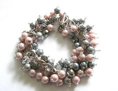 Pink and Gray Pearls with Silver and Clear by SeagullSmithJewelry