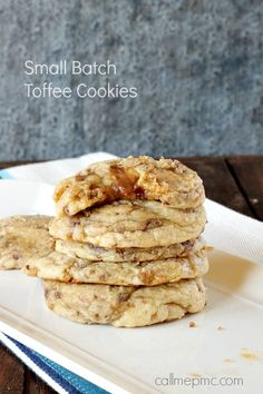 Small Batch Soft Toffee Cookie Recipe Luscious pillows of creamy dough this small batch cookie recipe will blow you away! --from Call Me PMC