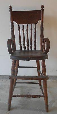 Antique Primitive Pressed Back High Chair   eBay