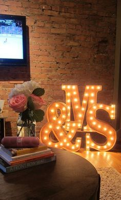 Apartment Makeover. Checkout the Vintage Marquee Lights!
