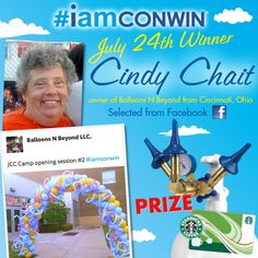 And our July 24th #iamconwin Giveback Giveaway winner of Conwin's Triple Speed Inflator and Starbucks Gift Card is Cindy Chait, owner of Balloons N Beyond from Cincinnati, Ohio! Congratulations Cindy!   Learn more at: www.iamconwin.com