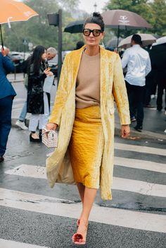 October 1, 2017 Sunglasses, Paris, Yellow, Giovanna Battaglia, Earrings, Aurelie Bidermann, Dries Van Noten, SS18 Women's, Aquazurra, Tod's