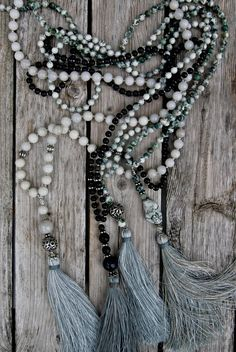 With much colder days ahead of us, my color palette has changed to greys, whites and blacks. Please take a look at new necklaces in s...