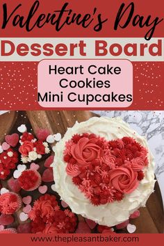 Join me as I make this super cute valentines day charcuterie board! See how I make a heart cake, heart cookies, and mini cupcakes. #charcuterieboard #heartcake #thepleasantbaker Heart Cookie Cutter, Heart Cookies, Cake Decorating For Beginners, Chocolate Sugar Cookies, Icing Colors, Box Cake Mix, Gorgeous Cakes, Valentines Day Hearts, Charcuterie Board