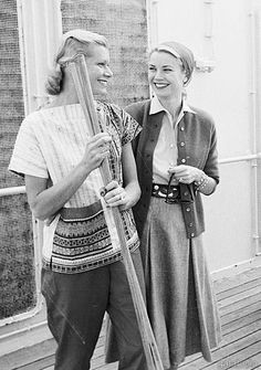 Grace Kelly with her sister aboard the SS Constitution, 1956