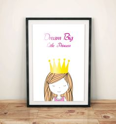 Dream big, nursery prints poster with sweet little princess, wall art decor, kids room, simple design, for girl, graf poster by GrafPoster on Etsy