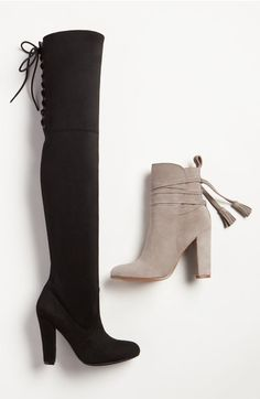 Ok, Steve Madden knocked it out of the park with their new collection. Im absolutely obsessed with these black suede over-the-knee boots and grey suede tassel booties! Thigh High Boots, High Heel Boots, Bootie Boots, Shoe Boots, Cute Shoes, Me Too Shoes, Over The Knee Boot Outfit, Zapatos Shoes, Crazy Shoes
