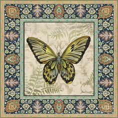 Vintage Tapestry Butterfly-c Painting