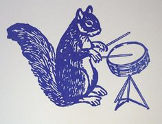 you got to love a drumming squirrel.  Letterpress  card in the ferdinandhome shop on etsy