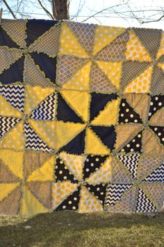 Pinwheel Rag Quilt with Triangles in Yellow, Gray, and Navy Blue, Ready To Ship