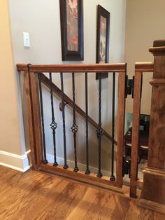 Custom dog gate built to match our existing stair railing. Made from maple, 211 Provincial stain, Boerboel 180 hinges and iron balusters. Staircase Gate, Safety Gates For Stairs, Baby Gate For Stairs, Stair Gate, Wrought Iron Stairs, Wood Stairs, Stair Railing, Basement Staircase, Stairway