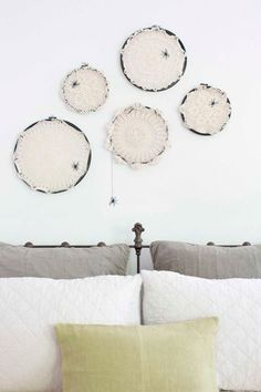 These crochet doily spiderwebs are a combination of sweet and spooky decor. This easy DIY is an effortless way to decorate your home this Halloween. Halloween Art Projects, Easy Halloween Crafts, Homemade Halloween, Holidays Halloween, Halloween Themes, Holiday Crafts, Halloween Decorations, Halloween Rocks, Haunted Halloween