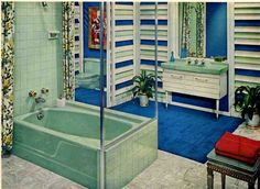 Retro bathrooms on pinterest retro bathrooms vintage for Avocado bathroom suite ideas