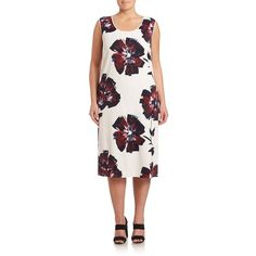 Lafayette 148 New York, Plus Size Bloom-Print Palmer Dress ($295) ❤ liked on Polyvore featuring plus size women's fashion, plus size clothing, plus size dresses, apparel & accessories, white day dress, sleeveless floral dress, white floral print dress, plus size sleeveless dresses and oversized dresses