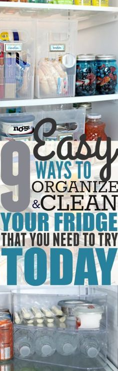 Keeping your fridge clean and organized is essential for your health. These hacks will easily help you keep your fridge clean! Pinning for later!
