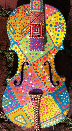 Multicolored Painted Violin by BeesCuriosityShoppe on Etsy, $315.00
