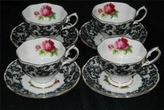 Set of 4 Royal Albert Senorita Teacups Saucers England Black Lace Red Rose
