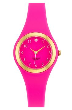 Adding a pop of color with this neon pink Kate Spade watch.
