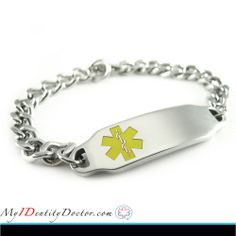 My-Identity-Doctor focuses in personalized, engraved, #medical_ID_jewelry. Our medical ID bracelets are especially engraved with easy to read BLACK font. This custom engraving on our medical alert #bracelets helps doctors and paramedics know how to assist you or your loved ones in times of emergencies. For more Detail click on image.