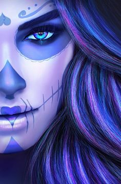 Sugar Skull Girl Tattoo, Sugar Skull Art, Sugar Skulls, Lettrage Chicano, Chicano Tattoos, Skull Artwork, Gothic Artwork, Day Of The Dead Artwork, Tattoos Realistic